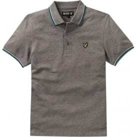 Short Sleeve Tipped Polo Shirt, Mid Grey Marl