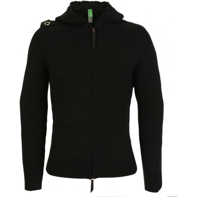 Ma. Strum Hooded Zip Front Sweater, Black