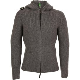 Hooded Zip Front Sweater, Medium Grey