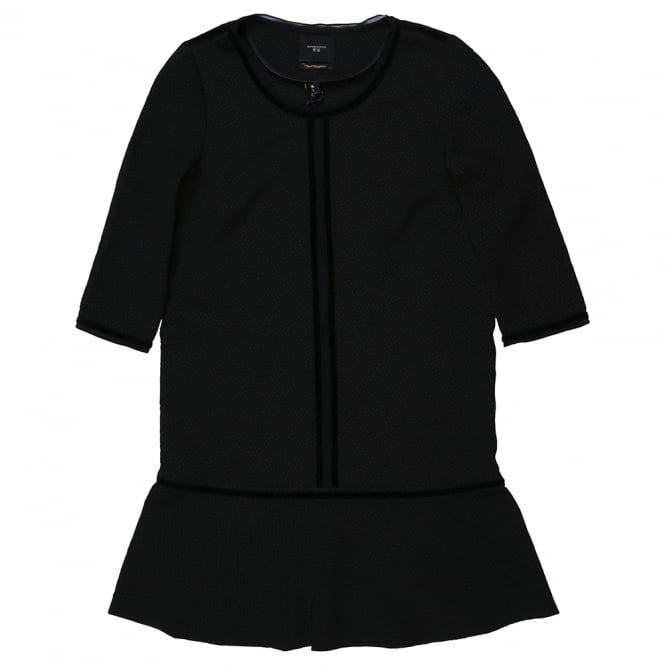 Maison Scotch Black Dropped Waist Peplum Dress