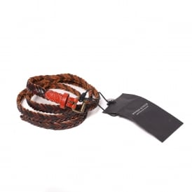 Burnt Sienna Braided Leather Belt