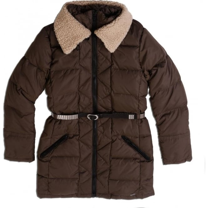 Maison Scotch Down Jacket with Teddy Collar and Belt