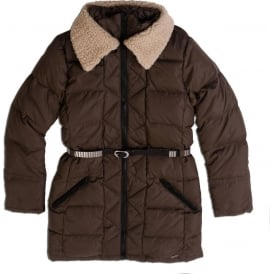 Down Jacket with Teddy Collar and Belt