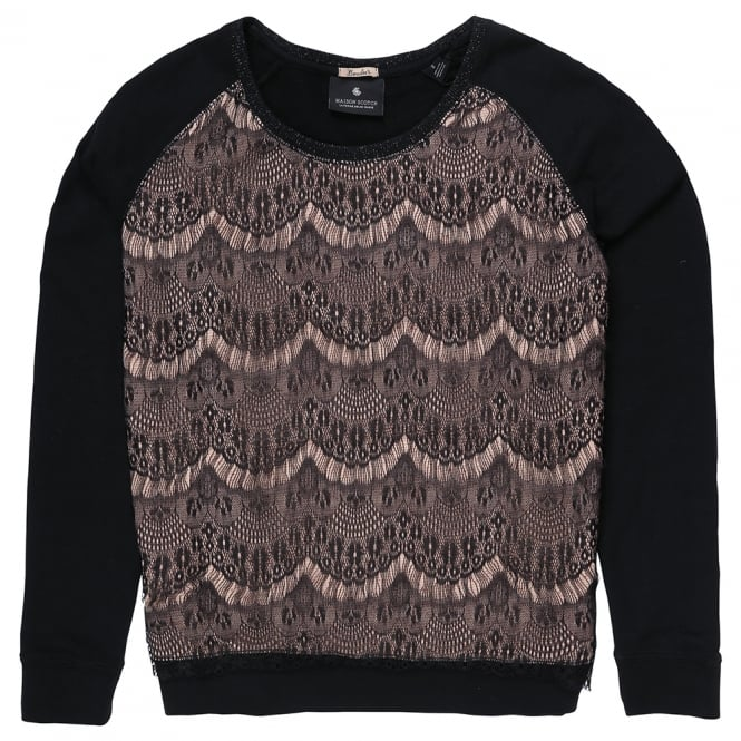 Maison Scotch Long Sleeve Sweater with Lace