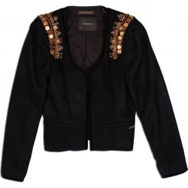 Rock Inspired Fancy Blazer with Gold Tone Shoulder Decorations