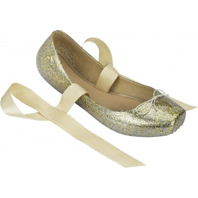 Melissa Shoes Ballet 13 'Pointe-Style' Pumps, Gold Glitter A