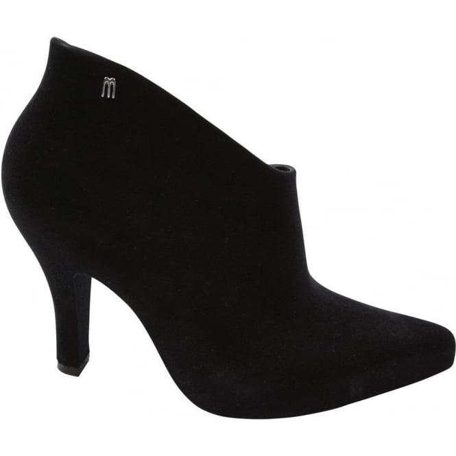Melissa Shoes Drama Flock Ankle Boot, Black