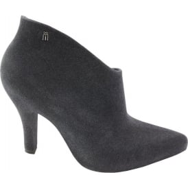Drama Flock Ankle Boot, Grey