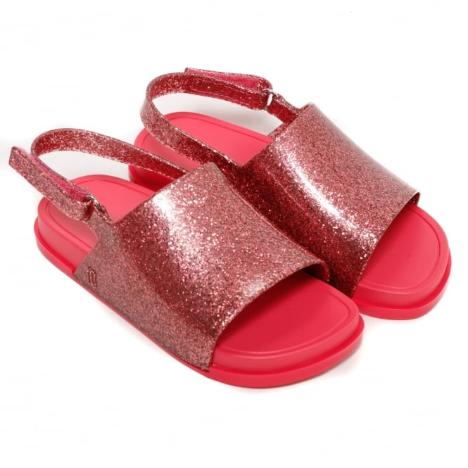 Melissa Shoes Mini Beach Slide Sandal, Pink Glitter