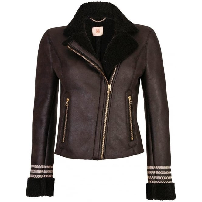 MW by Matthew Williamson Faux Leather Sheepskin Crochet Biker Jacket