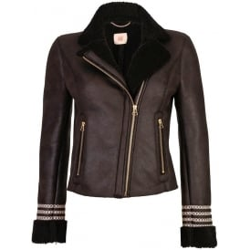 Faux Leather Sheepskin Crochet Biker Jacket