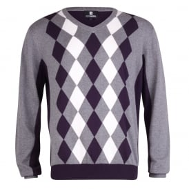 Long Sleeve Argyle V-Neck Jumper