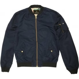 Bomber Jacket with Floral Lining, Navy