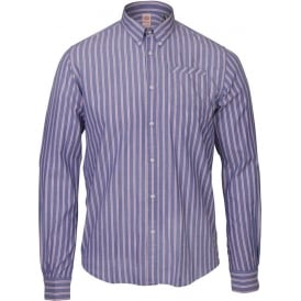 Buttoned Collar Long Sleeve Pinstripe Shirt, Dessin C