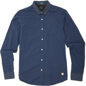 Contrast Collar Cotton Shirt, Blue