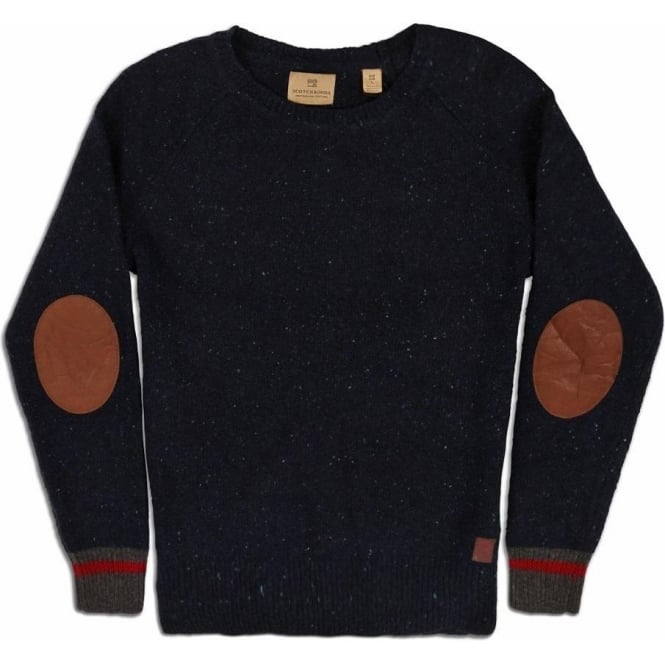 Scotch & Soda Crew Neck Pullover with Contrast Cuffs and Leather Elbow Patches