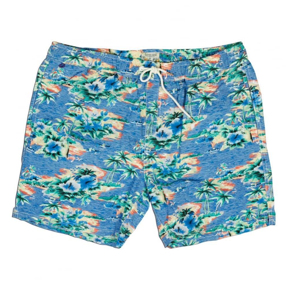 55f14cf8230 Scotch & Soda Hawaiian Island Print Swim Short, Dessin X