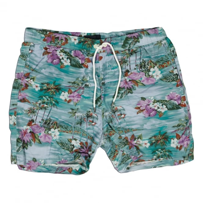 Scotch & Soda Hawaiian Landscape Print Swim Short, Dessin F