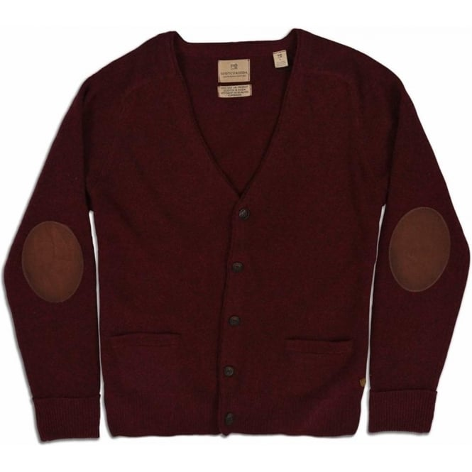 Scotch & Soda Lambswool Cardigan with Leather Elbow Patches (Oxblood Melange)