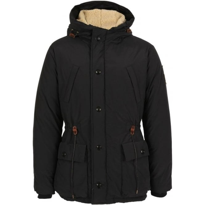 Scotch & Soda Long Outdoor Hooded Coat, Navy