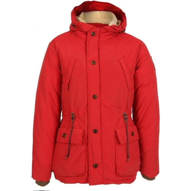 Scotch & Soda Long Outdoor Hooded Coat, Red