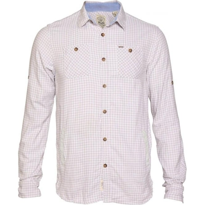 Scotch & Soda Long Sleeve ~Check Shirt with Leather Trim