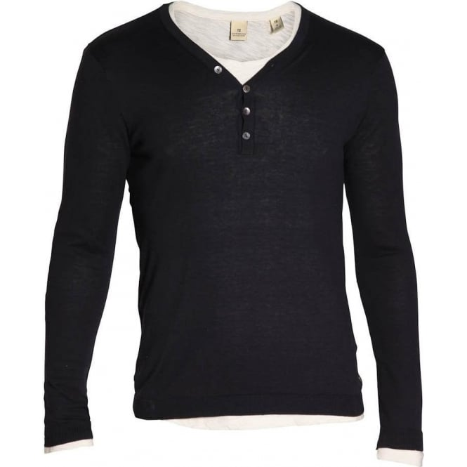 Scotch & Soda Long Sleeve Double Layered Grandad T-Shirt (Navy)