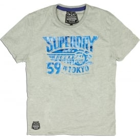 Superdry Bullet Train Tee, Grey Marl