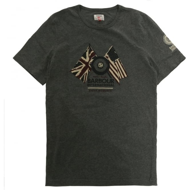 The Barbour Steve McQueen™ Collection Cross Flag Tee, Slate Grey