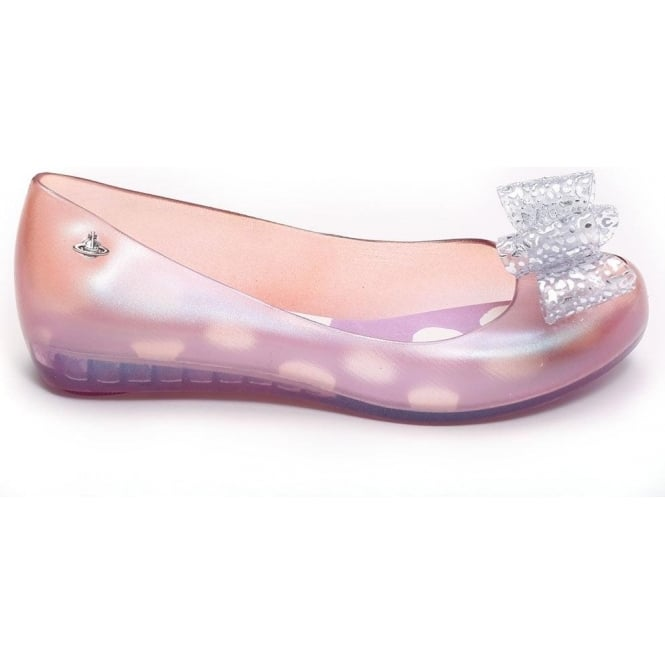 Vivienne Westwood Anglomania for Melissa VW Ultragirl II Ultra Bow Ballet Pump, Pink Lace 31256